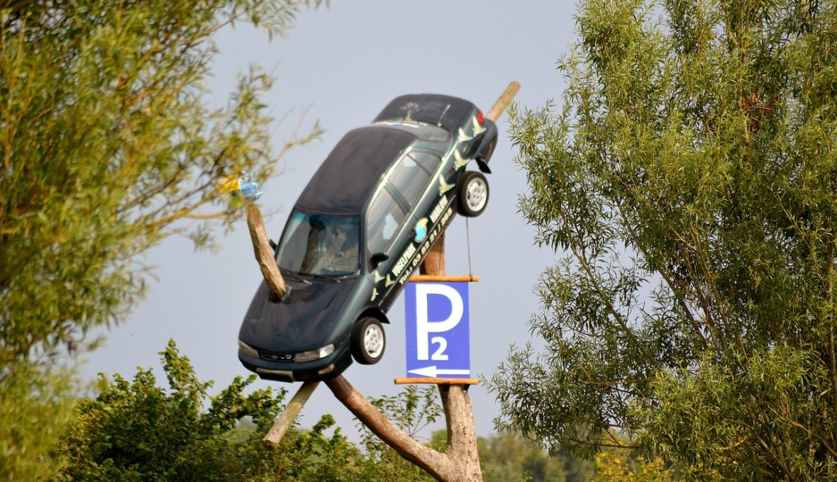 car hanging on a tree with a parking sign